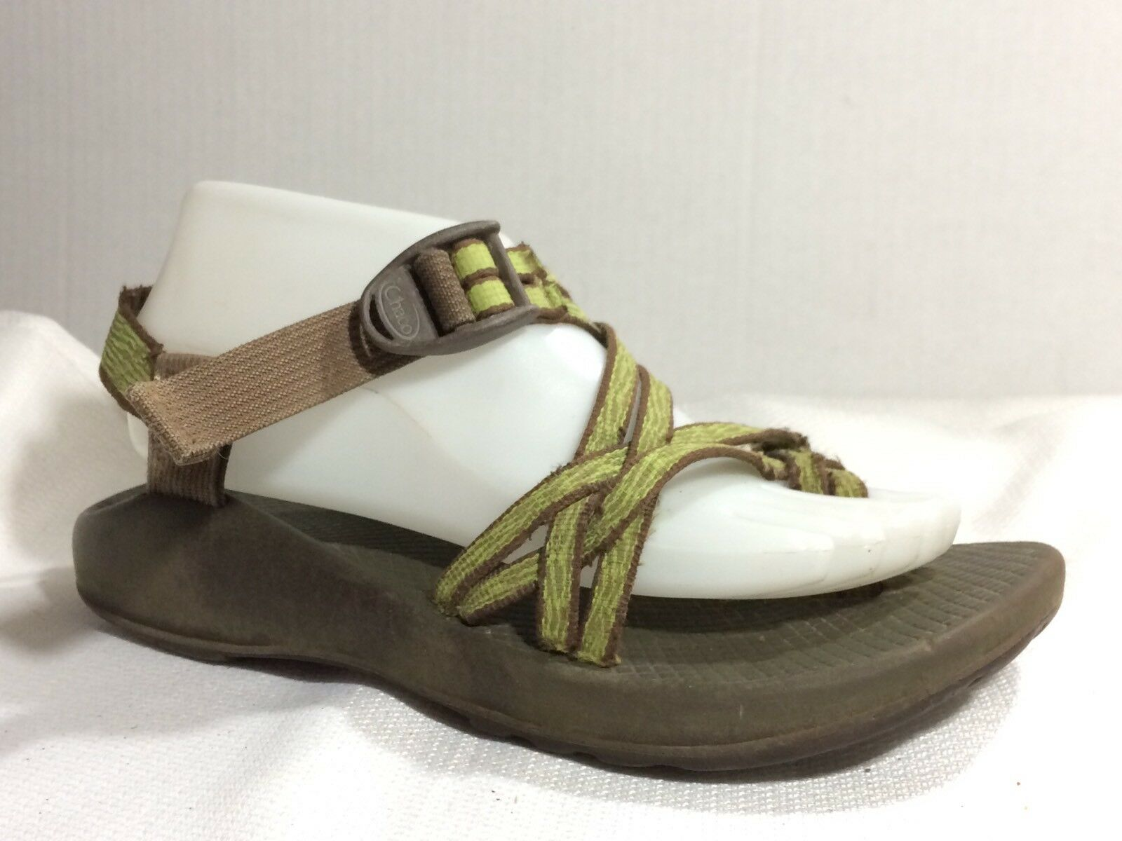 Chaco Zx2 Sandal Women 8 WIDE Green Brown Ankle Strap Strappy Vibram Hiking shoes