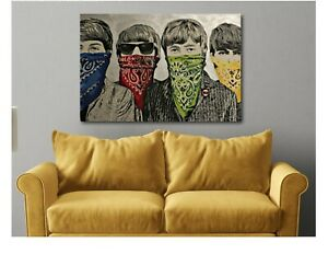 Banksy-Beatles-Bandanas-Graffiti-Canvas-Wall-Art