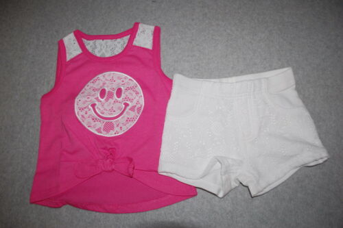 Toddler Girls PINK TANK TOP Tied Hi-Low SMILEY FACE White Lace Shorts 2T 3T 4T