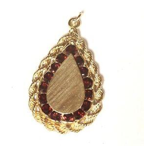 14k-yellow-gold-round-garnet-pendant-6g-estate-vintage-antique-womens-ladies
