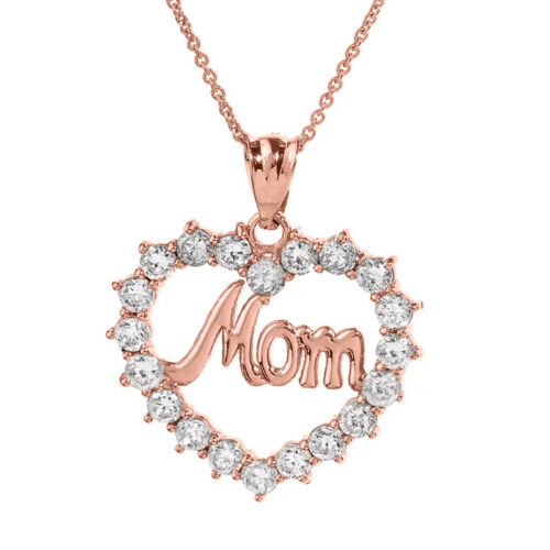 """Details about  /Solid Rose Gold 14K /""""Mom/"""" open Heart Pendant Necklace"""