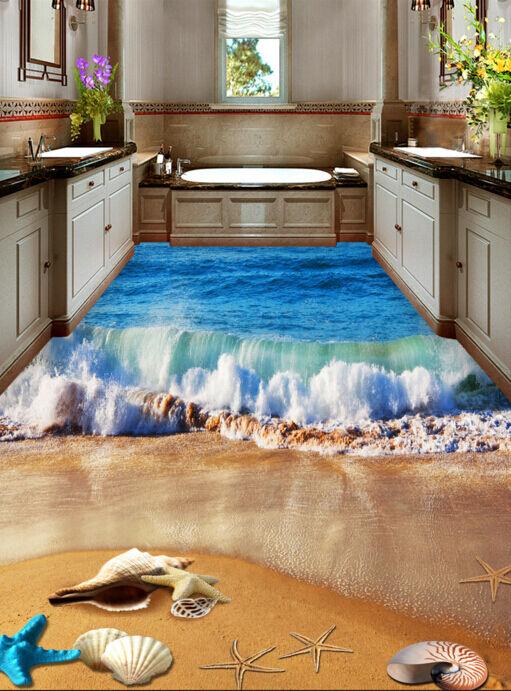 3D Rolling Wave Beach Floor WallPaper Murals Wall Print Decal 5D AJ WALLPAPER