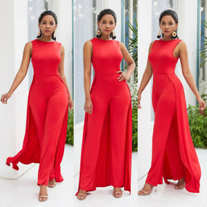 techniques modernes meilleure vente Meilleure vente Détails sur Femme Rouge Combinaison Barboteuse Pantalon Desseré Vêtement de  Soirée Robe