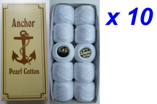 10 ANCHOR Pearl Cotton Crochet Embroidery Thread Balls Craft White Size 8UK