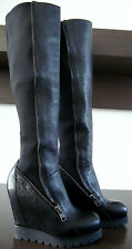 ASH TOSCA Black Leder Neopren Wedge Heel Knee-High Boots Stiefel Damen Gr.37 NEU