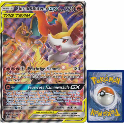 Pokemon SM230 Glurak /& Rutena GX Übergröße OVERSIZED Karte