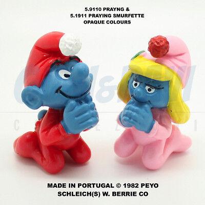Frugale Puffo Puffi Smurf Smurfs Schtroumpf 51910 + 51911 Opaque Praying 100% Original!! Vendita Calda Di Prodotti