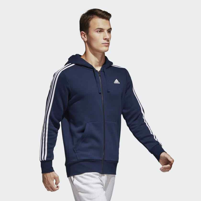 Adidas Herren Kapuzenpulli Running 3 Streifen Trainieren Marineblau Basis Neu     Günstigstes