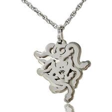 Collana funetta con testa di medusa in acciaio con Diamante Naturale -Incisione-