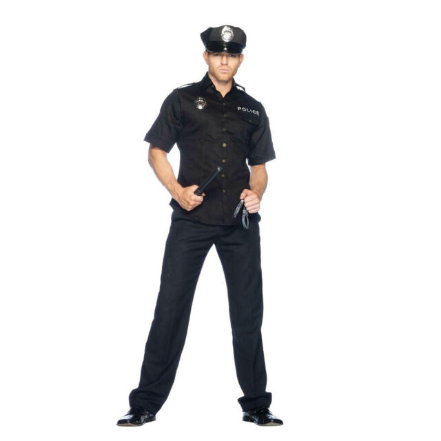 Mens Police Man Officer Costume Fancy Dress Up Party Halloween Uniform Outfit