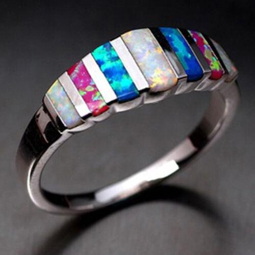 Hinreißend Silber Gefüllt Damen Eheringe Mehrfarbig Opalring Size 6-12