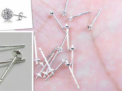 20PCS 925 Sterling Silver Ear Pin Pairs Stud Earrings Findings Supplies Beads