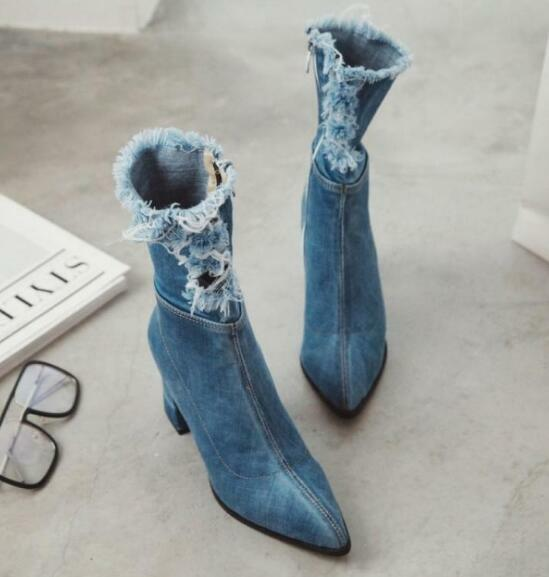 Donna Pointed Toe Shoes Denim Block Mid Calf Booties Blue Clubwear Jd_uk