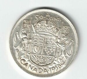 CANADA-1938-50-CENTS-HALF-DOLLAR-KING-GEORGE-VI-800-SILVER-CANADIAN-COIN