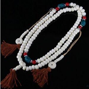 "Large Tibetan Turquoise Red Coral 108 Yak Bone Prayer Beads Mala Necklace -30"""