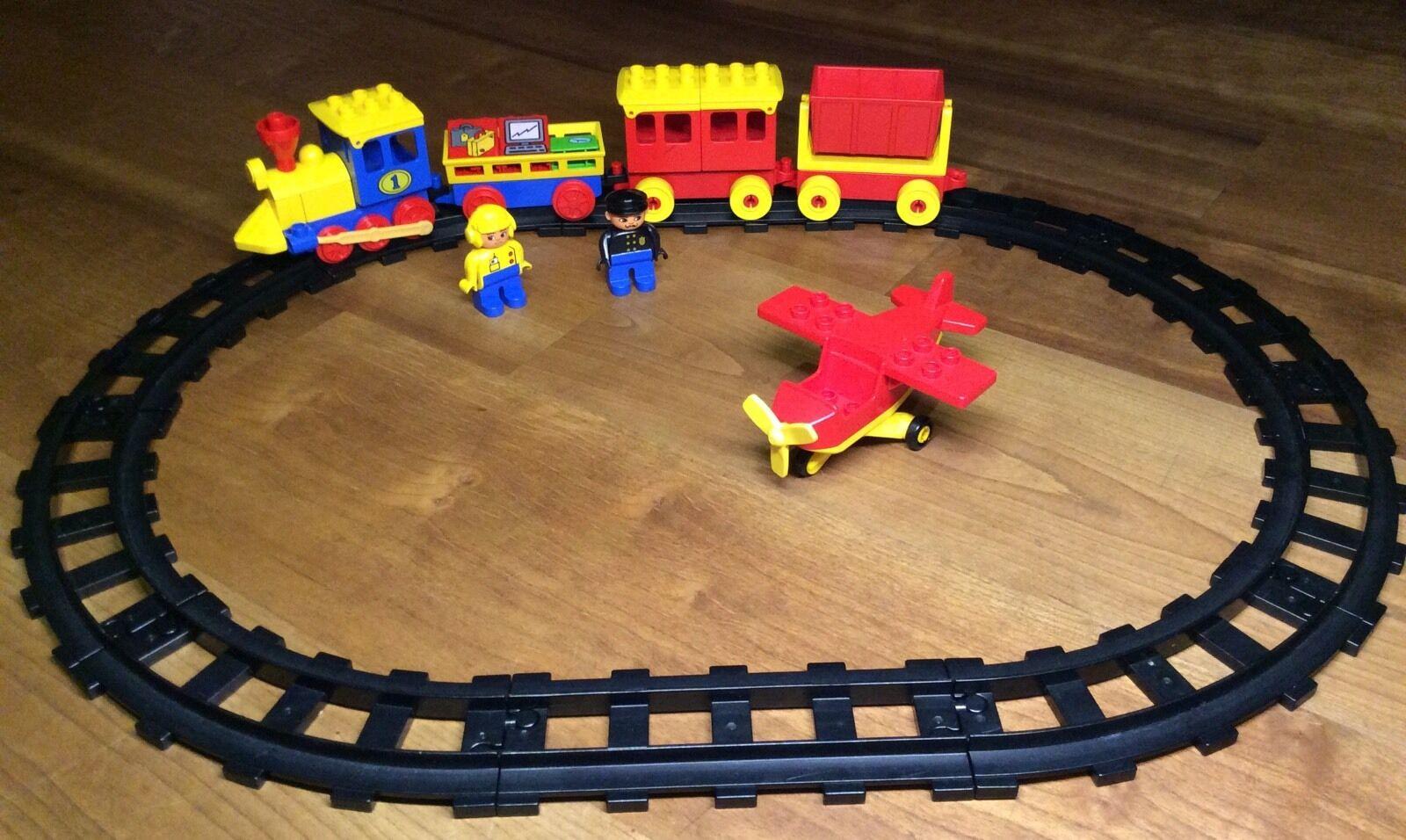 DUPLO LEGO Ferrovia Treno Locomotiva LOK AVIATORI AEREO Rotaie Binari
