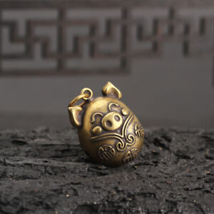 Chinese-antique-Collection-Asian-Brass-Small-bell-Zodiac-pig-Exquisite-statue