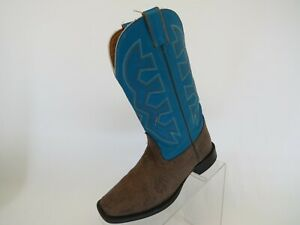 Nocona-Brown-Blue-Faux-Leather-Cowboy-Western-Boots-Youth-Size-3-5-D