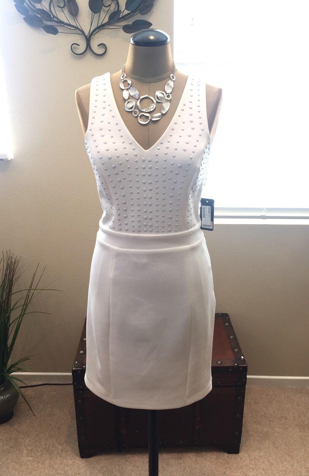 GUESS Shania White Embellished Sleeveless Dress Size 10. NWT NWT NWT Retail  128.00 b1a3a2