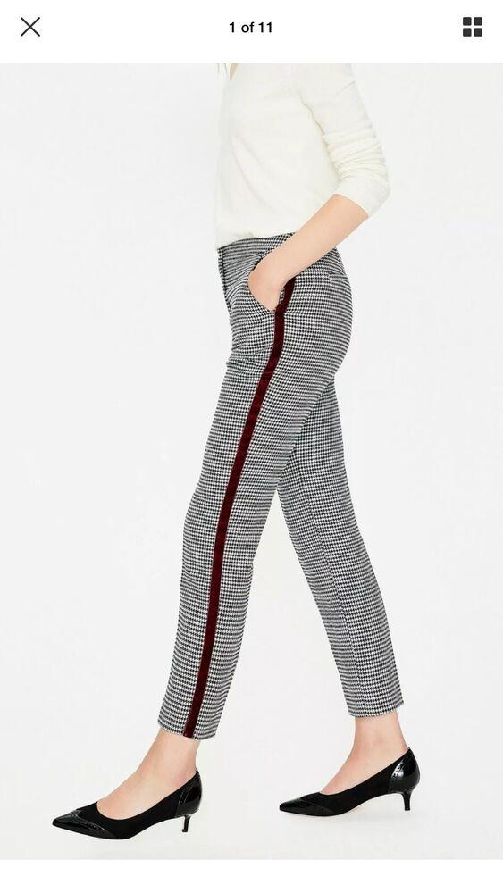 Bnwt Boden British Tweed 7/8 Pantalon Bleu Marine Et Ivoire Puppytooth Uk 14 R Rrp £ 110