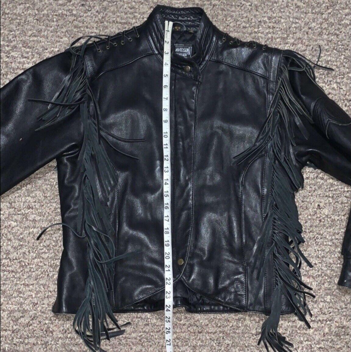 HARLEY DAVIDSON Black Fringed leather moto Jacket - image 5