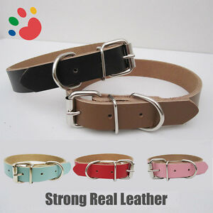 Strong-Real-Leather-Dog-collar-Pet-Cat-Puppy-Tan-Black-Pink-Red-Four-Sizes
