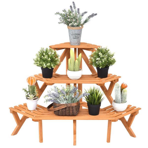 3 Tier Wood Corner Flower Stand Plant Ladder Pot Holder
