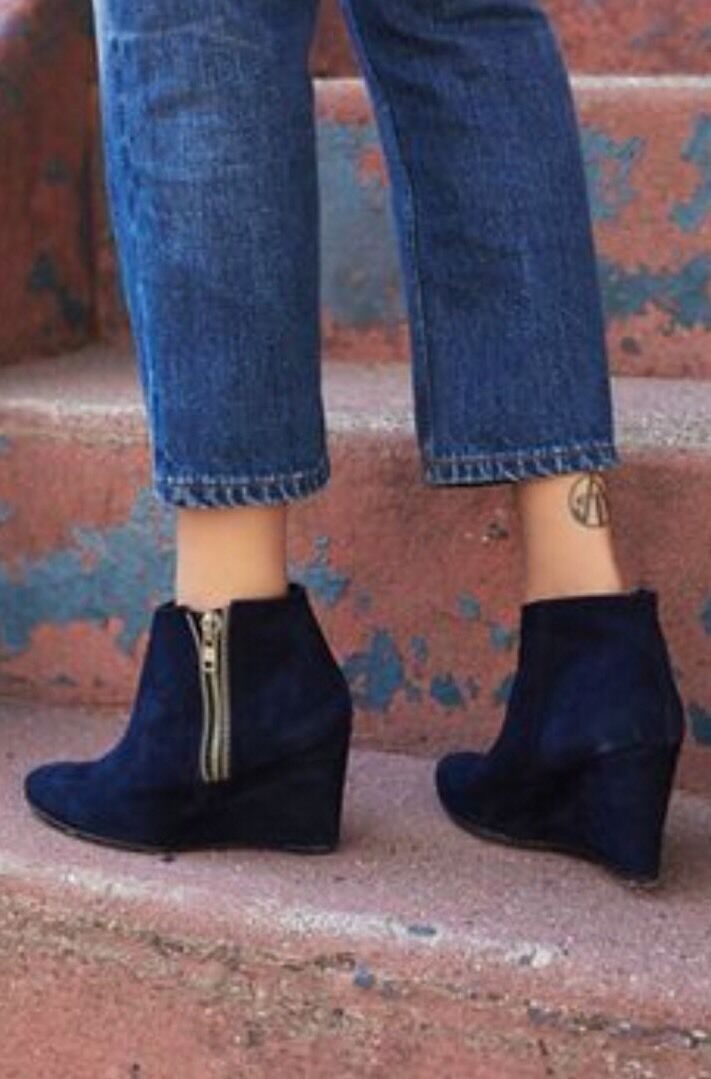 NEW Free People Orlanda Distressed Navy Suede Leather Zip Wedge Boots Size 37