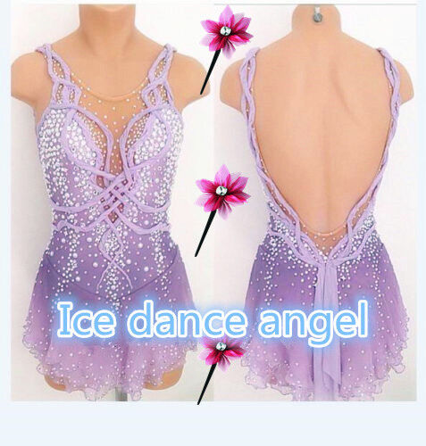 New Ice Figure Skating Dress Figure skaitng Dress For Competition lilac handmade