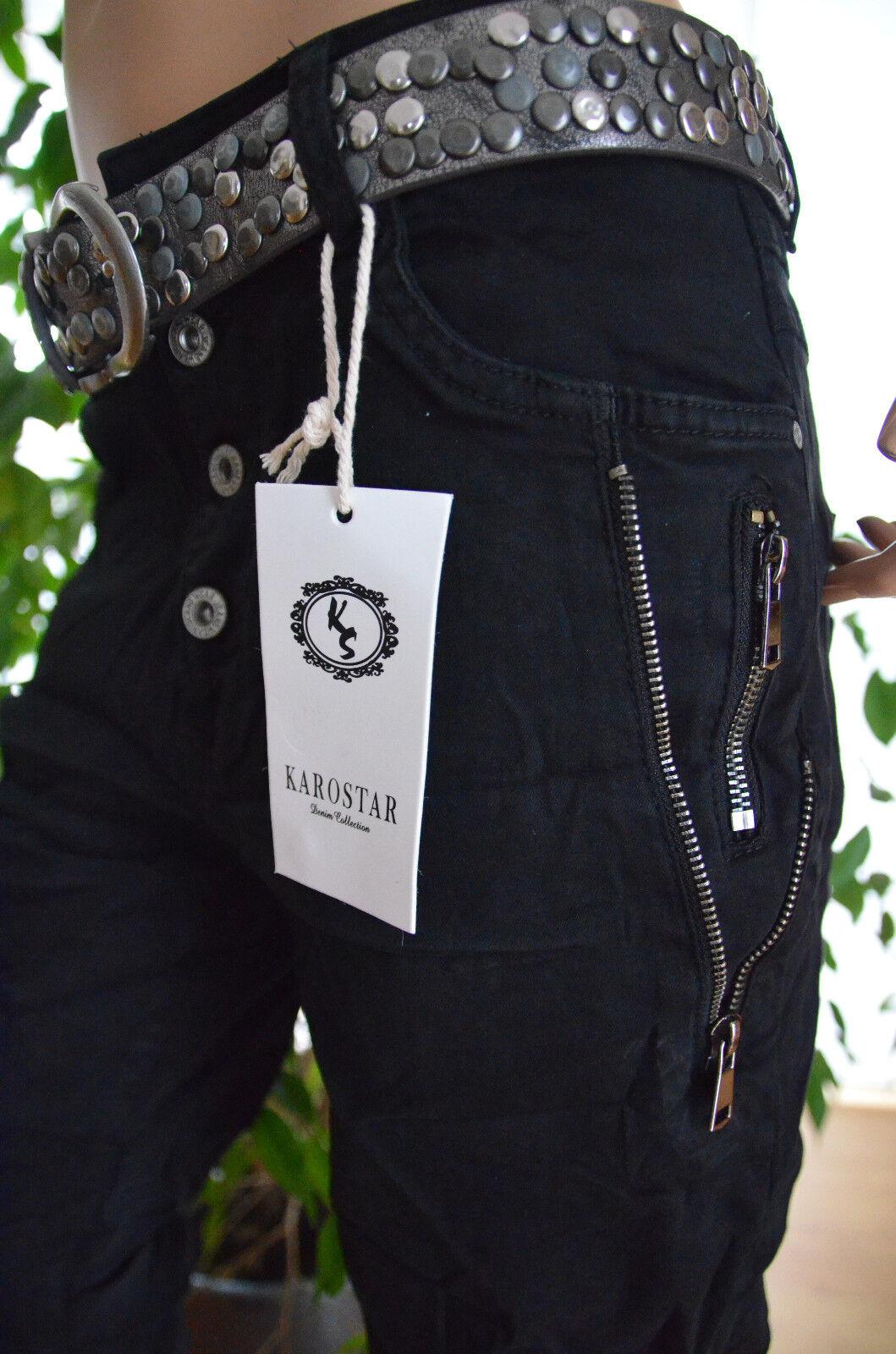 Karostar Baggy Boyfriend Damen Stretch Hose Jeans offene