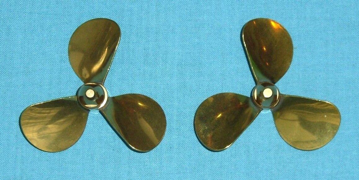 Model Boat Brass Propellers - 3 Blade Scale .