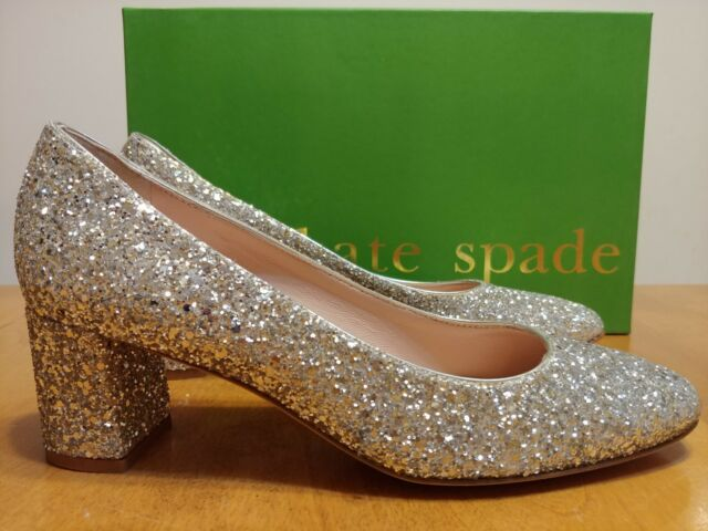 af8918a1aa5 Kate Spade Dolores Silver Glitter Sparkle Chunky Heel Pump Size 6.5 ...