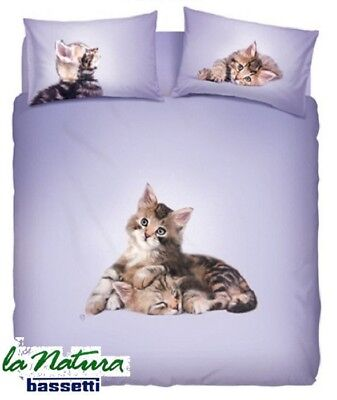 2019 Ultimo Disegno Bassetti Natura. Completo Letto, Lenzuolo - Copriletto Lovely Cats. Matrimoniale