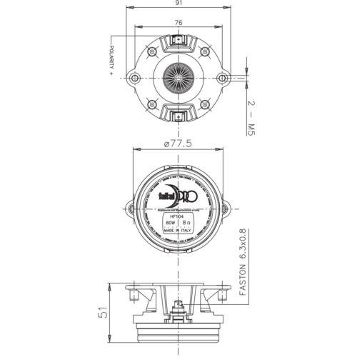 "Pair Faital Pro HF104 1/"" Compression Horn Driver Neodymium 108dB Tweeter  8 Ohm"