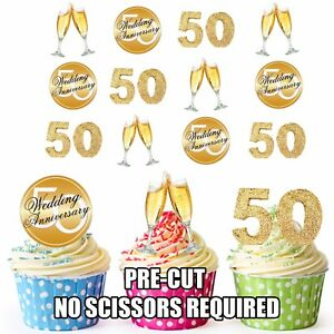 PRECUT-Golden-50th-Wedding-Anniversary-12-Edible-Cupcake-Toppers-Decorations