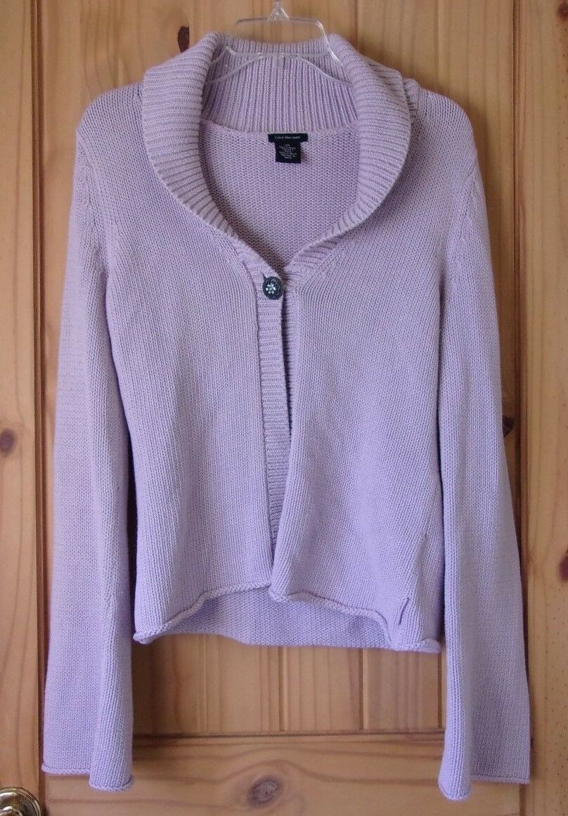 Calvin Klein Lilac 1 Button Shawl Collared Cardig… - image 1