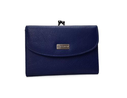 Portefeuille Porte Cartes Crédit Monnaie Fermoir Bouton Pression Femme cuir bleu