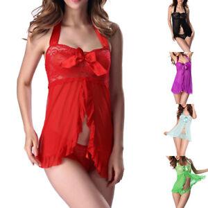 Lady-Sexy-Bandage-Tie-Shirt-Dress-Solid-Color-G-string-Nightwear-Party-NightClub
