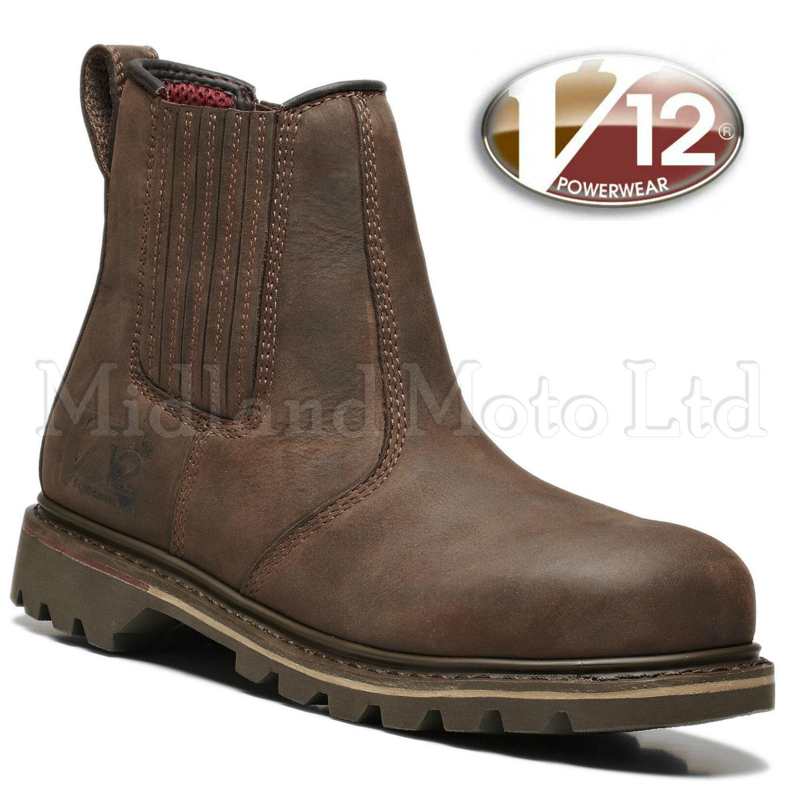 V12 Rawhide Steel Toe Braun Cap Safety Dealer Stiefel Braun Toe Leder Chelsea V1231 724d19