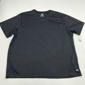 NWT Athletech T Shirt Men's 4X Big Short Sleeve Black Crew Neck 100% Polyester