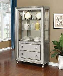 MODERN METALLIC PLATINUM SILVER MIRRORED CURIO CHINA