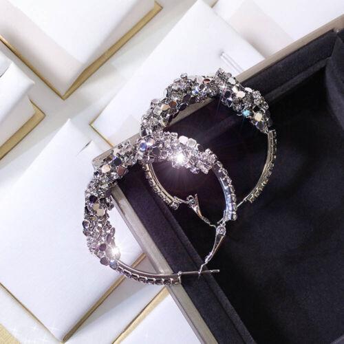 Fashion Brillant Sequin Party Jewelry Crochet Boucles D/'oreilles Géométriques Cercle Boucles D/'oreilles Clou