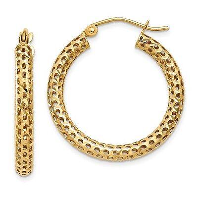 14k Yellow Gold Mesh Hoop Earrings. Length 27mm x Width 25mm.