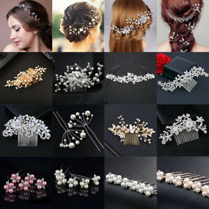 Magasiner Pour Pas Cher Wedding Bridal Pearls Flower Crystal Hair Pins Clips Side Comb Hair Accessories à Distribuer Partout Dans Le Monde