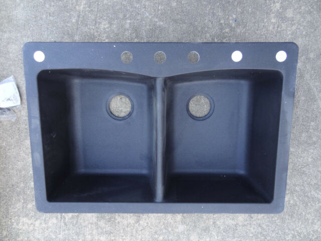 291 655 Dual Mount Composite Granite 33 In. 3 Hole Double Basin Kitchen Sink