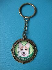 Welsh Corgi Keyring Dog Puppy Metal Handmade Bag Charm Bronze Face Green Artwork