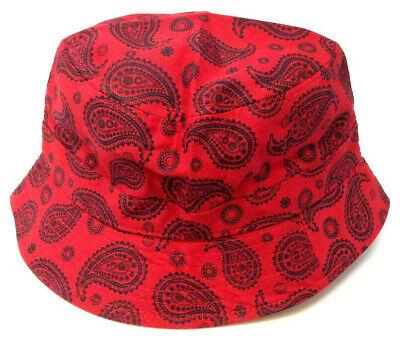 Unisex Bucket Bush Hat Reversible 2 in 1 Bandana Paisley Pattern Print Boonie Sun