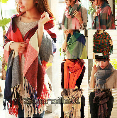 Fashion Spring Autumn Winter Wool Shawl Collar Grid Long Scarf Warmer For Woman
