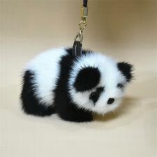 Luxury Real Mink Fur Furry Charm Panda Car Keychain Keyring Pendant For Bag KP01