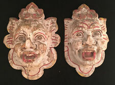 Two Polychrome Carved Wood Faces for Carousel Shields Probably by Herschell Spil